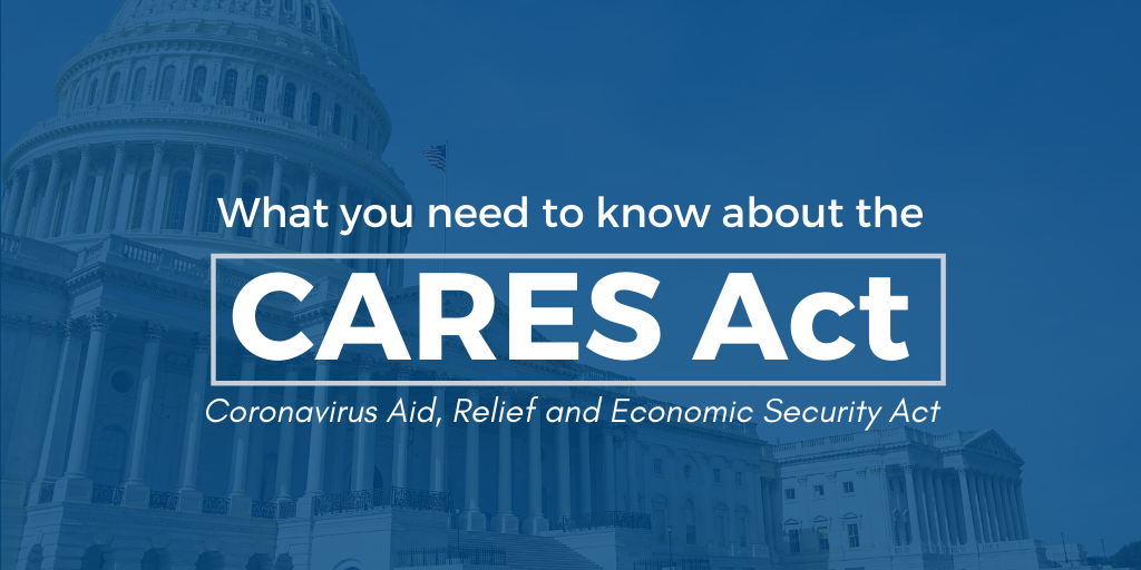 "A banner that reads ""What you need to know about the CARES act"" Used courtesy of AP"